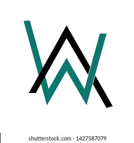 abstract line Alan Walker symbol W logo vector template for hoodie wear t shirt apparel