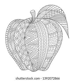 Abstract line art of apple for adult coloring book, coloring page,engraving, tattoo, t shirt design and so on. Vector illustration