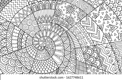 Abstract line art for background, wall decoration, engraving, adult coloring book,coloring page and other design element. Vector illustrations.