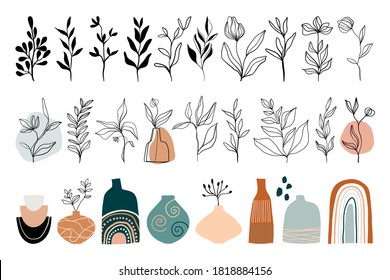 Abstract line art collection with floral elements, leaves, plants and vases, modern trendy design, contemporary artwork. Doodle shapes isolated on white