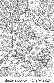 Abstract line art drawing for background and adult coloring book or coloring page. Vector illustration