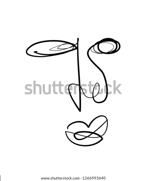 Abstract Line Art Drawing Face Illustration Stock Vector