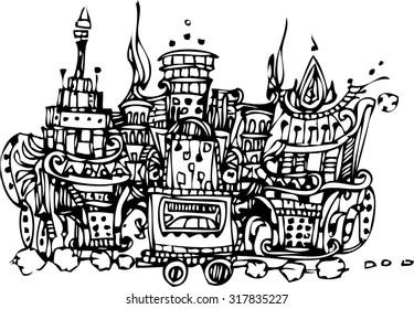 abstract line art of imagination train design