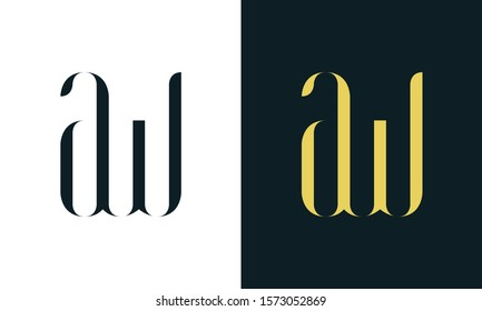 Abstract line art letter AW logo. This logo icon incorporate with two letter in the creative way. It will be suitable for Restaurant, Royalty, Boutique, Hotel, Heraldic, Jewelry.