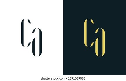 Abstract line art letter CA logo. This logo icon incorporate with two letter in the creative way. It will be suitable for Restaurant, Royalty, Boutique, Hotel, Heraldic, Jewelry.