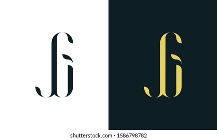 Abstract line art letter JG logo. This logo icon incorporate with two letter in the creative way. It will be suitable for Restaurant, Royalty, Boutique, Hotel, Heraldic, Jewelry.