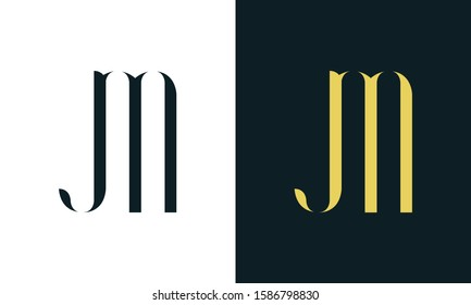 Abstract line art letter JM logo. This logo icon incorporate with two letter in the creative way. It will be suitable for Restaurant, Royalty, Boutique, Hotel, Heraldic, Jewelry.