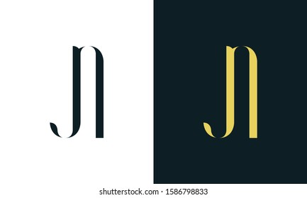 Abstract line art letter JN logo. This logo icon incorporate with two letter in the creative way. It will be suitable for Restaurant, Royalty, Boutique, Hotel, Heraldic, Jewelry.