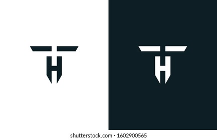 Abstract line art letter TH logo. This logo icon incorporate with letter T and H in the creative way.