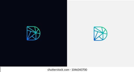 abstract line art logo. letter D tech logo template