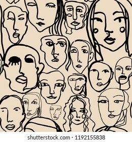 Abstract line art texture with human faces. Hand-drawn vector seamless pattern with portraits in modern style.