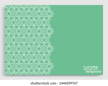 Abstract line background with place for the text. Greeting card or Wedding invitation template. Geometric trendy linear background, lace texture, tribal ethnic arabic, indian decorative ornament