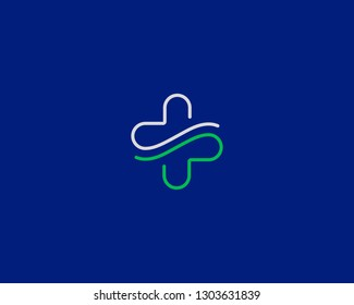 Abstract line cross logo design. Hands care medical vector logotype.