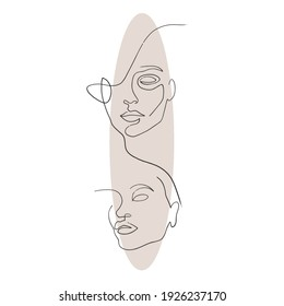 abstract line drawing faces set