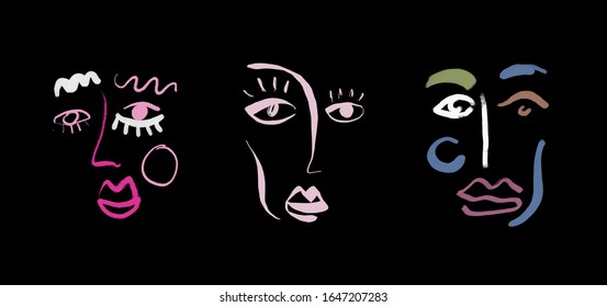 Abstract line  face. Contemporary drawing in modern cubism style. Portrait of a woman face isolated on colorful pastel textures with shapes.