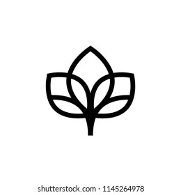 Abstract line floral logo. Isolated on white. Vector illustration. Eco, organic, beauty, nature symbol. Symmetrical sharp flower petals.