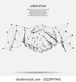 Abstract line and point agreement handshake business concept. Polygonal point line geometric design. Hands chain link internet hyperlink connection vector illustration