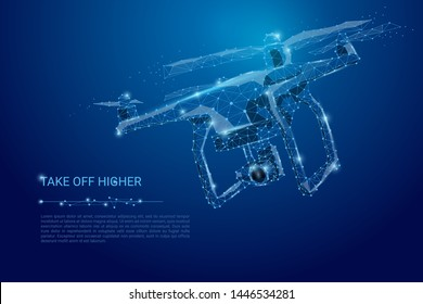 Abstract line and point drone. Drone flying with action video camera on dark blue. Polygonal low poly background with connecting dots and lines. Vector illustration connection structure.