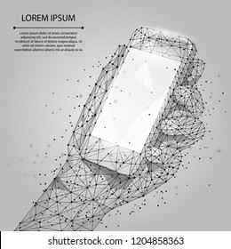 Abstract line and point grey Mobile phone with empty screen, holding by man hand. Communication app smartphone concept. Polygonal low poly background with connecting dots and lines. Vector illustratio