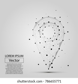 Abstract line and point pin on white background with an inscription. Vector illustration