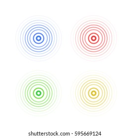 abstract line ripple emblem. Radar, sound or vibration icon. Flat design.