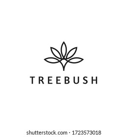 Abstract line tree logo for yoga, organic, bio, boutique, cosmetics, spa, natural store. Premium elegant simple flower or leaf floral logo.