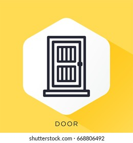 Abstract line vector icon illustration of a door.