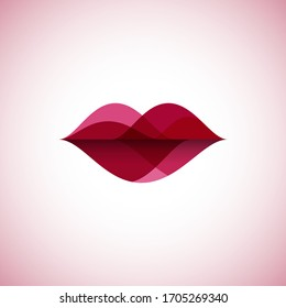 Abstract linear color lips logo. Wave sound speech vector illustration