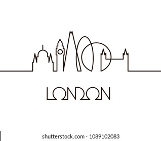 abstract linear illustration of London city on white background