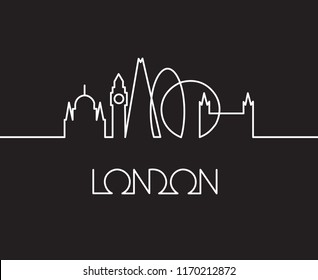 abstract linear illustration of London city on black background