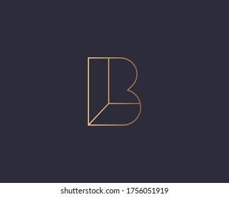 Abstract linear letter B logo icon design modern minimal style illustration. Premium vector line emblem sign symbol mark logotype