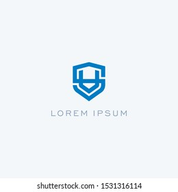 Abstract linear letter initial SV VS shield  logo icon design modern minimal style illustration vector.