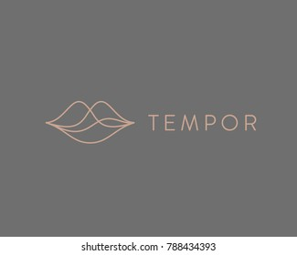 Abstract linear lips logotype. Wave sound speech vector logo