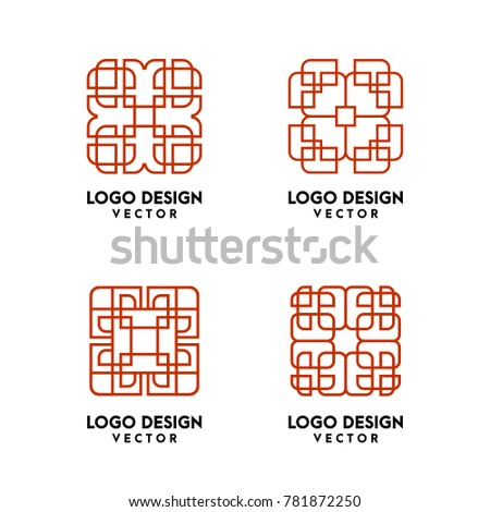 abstract linear logo template stock vector royalty free 781872250