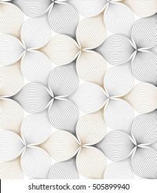 Abstract linear petal flower. Vector pattern