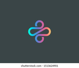 Abstract linear plus path cross human gradient logo icon design modern minimal style illustration. Motion wave vector line emblem sign symbol mark logotype
