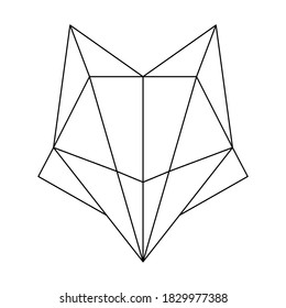 Abstract linear polygonal head of a fox. Contour for tattoo, logo, emblem and design element.