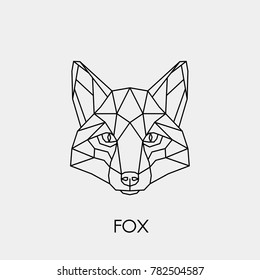 Abstract linear polygonal head of a fox. Vector. Geometric animal tattoo.