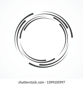 Abstract Lines in Circle Form, Design element, Geometric shape, Striped border frame for image, Technology round Logo, Spiral Vector Illustration