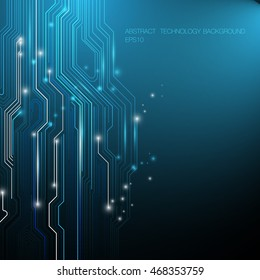 Abstract Lines Circuit Blue and White Lights Background with Space for your Text vector design