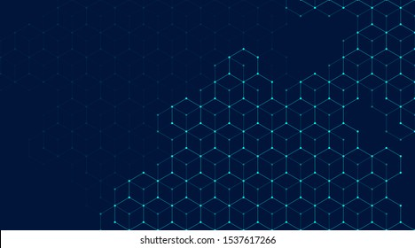 Abstract lines and dots connect background with hexagons. Hexagons connection digital data and big data concept. Hex digital data visualization. Vector illustration.
