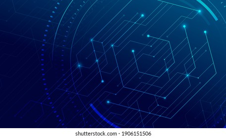 Abstract lines and dots connect background. Technology connection digital data and big data concept.