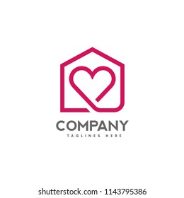abstract lines house and heart logo vector, love home logo vector