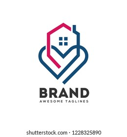 abstract lines house and heart logo vector,  home care logo vector