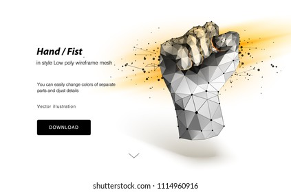 Abstract lines of a mash and a point of a fist of origami on a white background. The agreement is a starry sky or a space consisting of stars and the universe. Vector illustration of a power.
