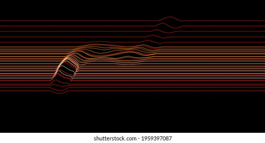Abstract lines pattern with some non uniform disruption. Vector Illustration