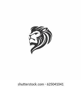 abstract lion head icon logo design