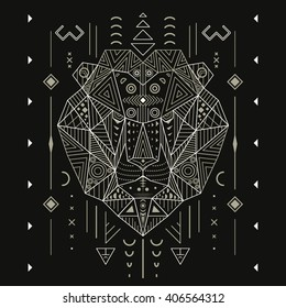 Abstract lion ornament ethnic vector illustration, tribal, tattoo, animal, art, stencil, design isolated on black background line art