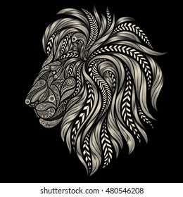 Abstract lion vector patterns on a black background