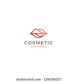 Abstract Lips Logo Design in Red Colors Combination in Line Style